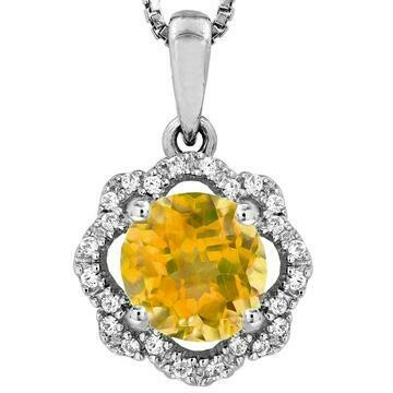 Floral Citrine Pendant with Diamond Frame 14KT Gold