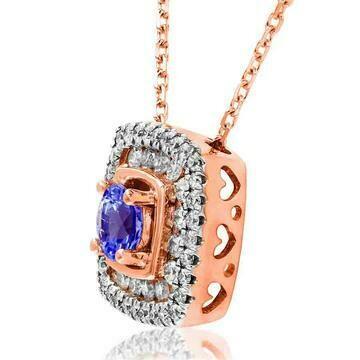 Cushion Tanzanite Pendant with Double Diamond Frame Rose Gold