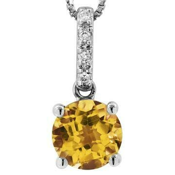 Citrine Pendant with Diamond Bail 14KT Gold