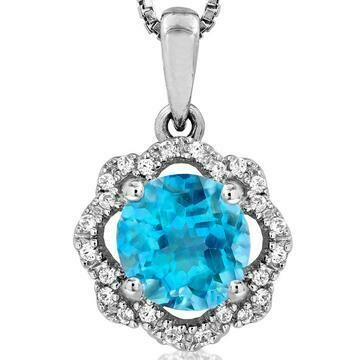 Floral Blue Topaz Pendant with Diamond Frame 14KT Gold