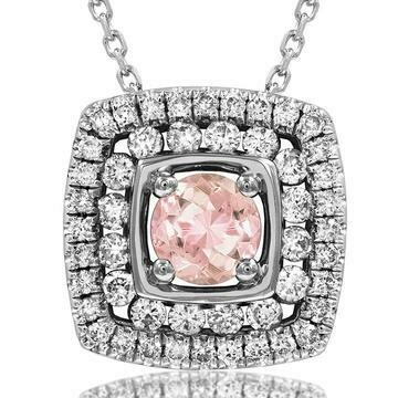 Cushion Morganite Pendant with Double Diamond Frame 14KT Gold