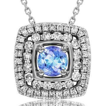 Cushion Tanzanite Pendant with Double Diamond Frame White Gold