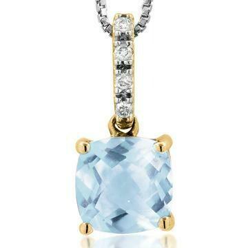 Cushion Aquamarine Pendant with Diamond Bail Yellow Gold