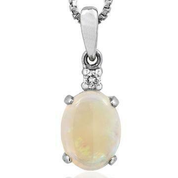 Oval Opal Pendant with Single Diamond White Gold