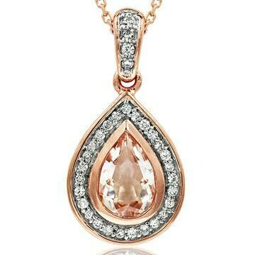 Morganite Teardrop Pendant with Diamond Frame 14KT Rose Gold