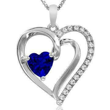 Heart Blue Sapphire Pendant with Diamond Accent 14KT White Gold