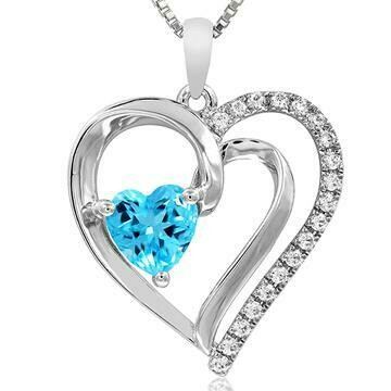 Heart Blue Topaz Pendant with Diamond Accent 14KT White Gold