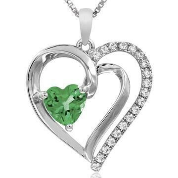 Heart Peridot Pendant with Diamond Accent 14KT White Gold