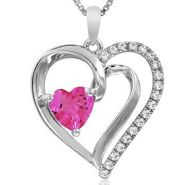 Heart Pink Topaz Pendant with Diamond Accent 14KT White Gold