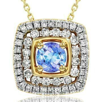 Cushion Tanzanite Pendant with Double Diamond Frame Yellow Gold
