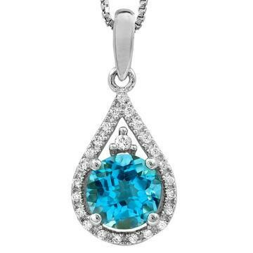 Blue Topaz Teardrop Pendant with Diamond Frame 14KT Gold