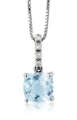 Cushion Aquamarine Pendant with Diamond Bail White Gold