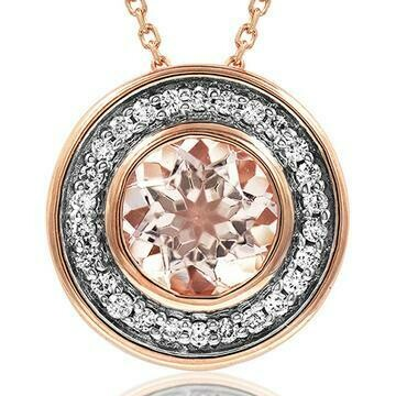 Morganite Pendant with Diamond Frame 14KT Rose Gold