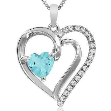 Heart Aquamarine Pendant with Diamond Accent White Gold