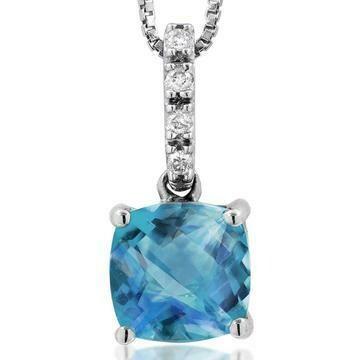Cushion Blue Topaz Pendant with Diamond Bail 14KT Gold