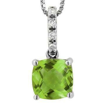 Cushion Peridot Pendant with Diamond Bail 14KT Gold