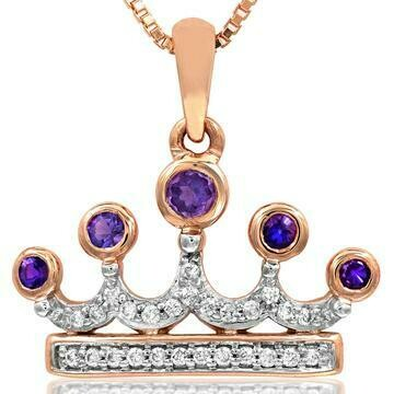 Amethyst Crown Pendant with Diamond Accent Rose Gold