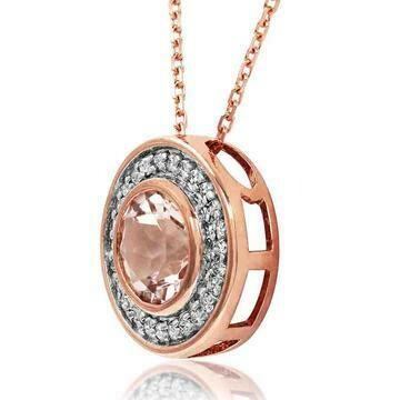 Morganite Pendant with Diamond Frame Rose Gold