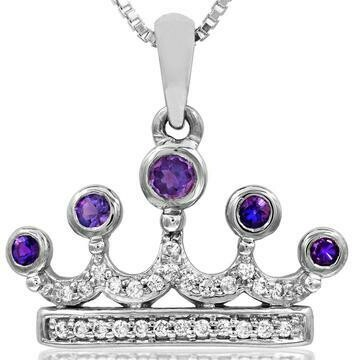 Amethyst Crown Pendant with Diamond Accent White Gold