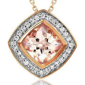 Cushion Morganite Pendant with Diamond Frame 14KT Rose Gold