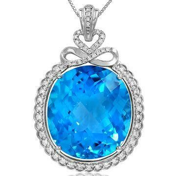 Premium Oval Infinity Blue Topaz Pendant with Diamond Frame 14KT White Gold