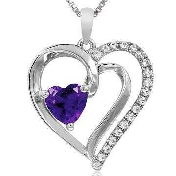 Heart Amethyst Pendant with Diamond Accent White Gold