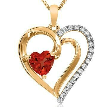 Heart Ruby Pendant with Diamond Accent Yellow Gold