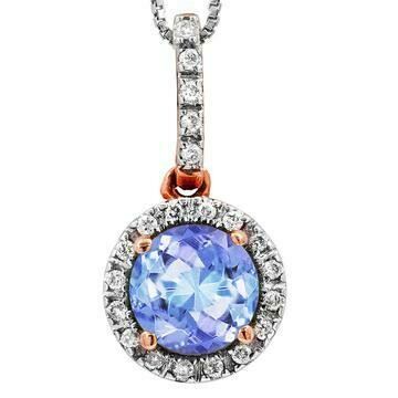 Tanzanite Pendant with Diamond Frame Rose Gold