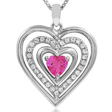 Triple Heart Pink Topaz Pendant with Diamond Accent 14KT White Gold