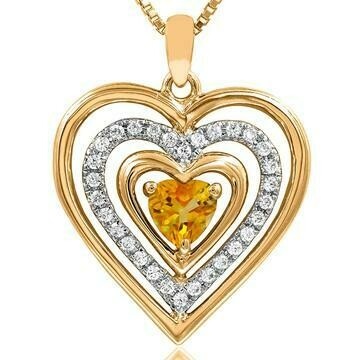 Triple Heart Citrine Pendant with Diamond Accent 14KT Yellow Gold