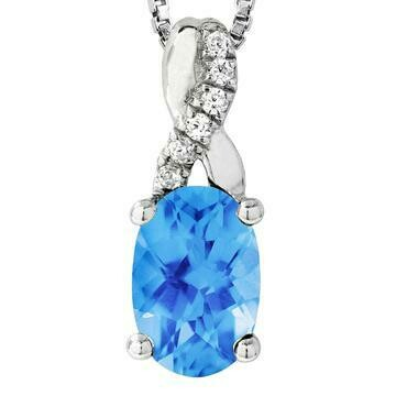 Oval Blue Topaz Infinity Pendant with Diamond Accent 14KT Gold