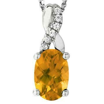 Oval Citrine Infinity Pendant with Diamond Accent 14KT Gold