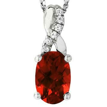 Oval Garnet Infinity Pendant with Diamond Accent 14KT Gold