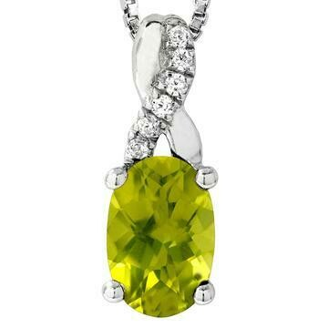 Oval Peridot Infinity Pendant with Diamond Accent 14KT Gold