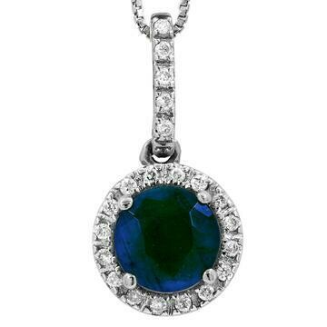 Blue Sapphire Pendant with Diamond Frame White Gold