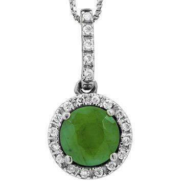 Emerald Pendant with Diamond Frame White Gold