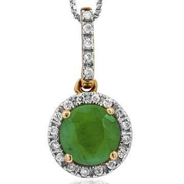 Emerald Pendant with Diamond Frame Yellow Gold
