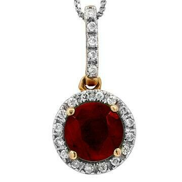 Ruby Pendant with Diamond Frame Yellow Gold