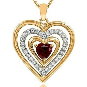 Triple Heart Garnet Pendant with Diamond Accent 14KT Yellow Gold
