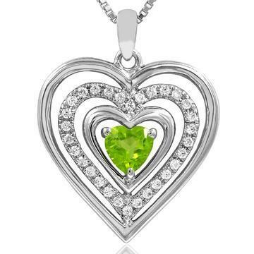 Triple Heart Peridot Pendant with Diamond Accent 14KT White Gold