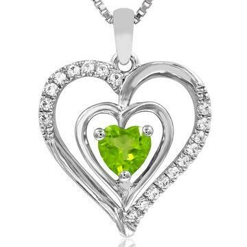 Double Heart Peridot Pendant with Diamond Accent 14KT White Gold