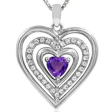 Triple Heart Amethyst Pendant with Diamond Accent White Gold