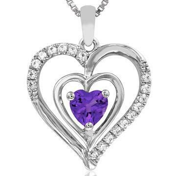 Double Heart Amethyst Pendant with Diamond Accent White Gold