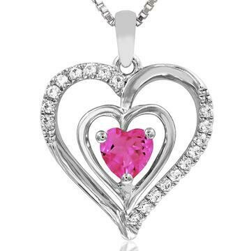 Double Heart Pink Topaz Pendant with Diamond Accent 14KT White Gold