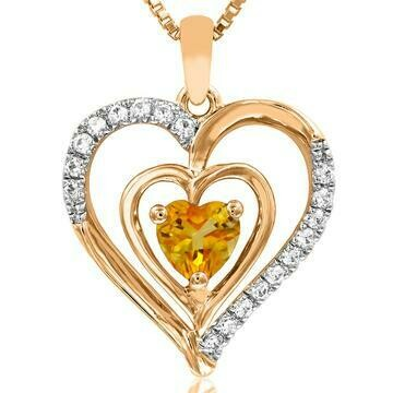 Double Heart Citrine Pendant with Diamond Accent 14KT Yellow Gold