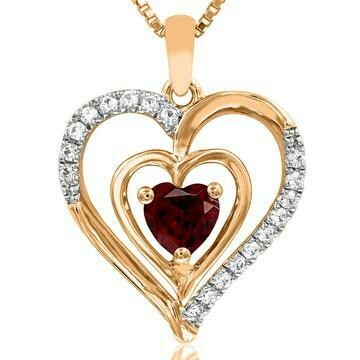 Double Heart Garnet Pendant with Diamond Accent 14KT Yellow Gold