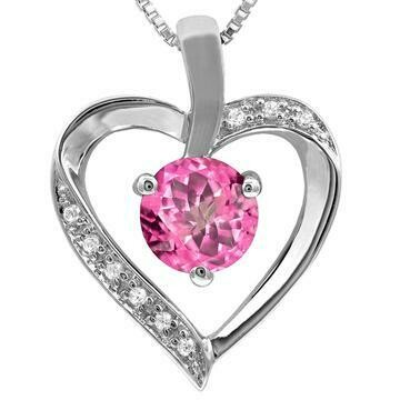 Pink Topaz Heart Pendant with Diamond Accent 14KT Gold