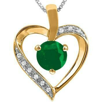 Emerald Heart Pendant with Diamond Accent Yellow Gold