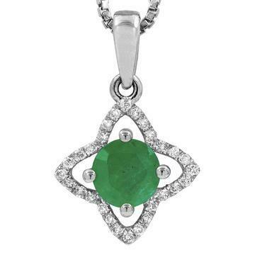 Cross Emerald Pendant with Diamond Frame White Gold