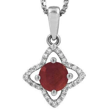 Cross Ruby Pendant with Diamond Frame 14KT Gold